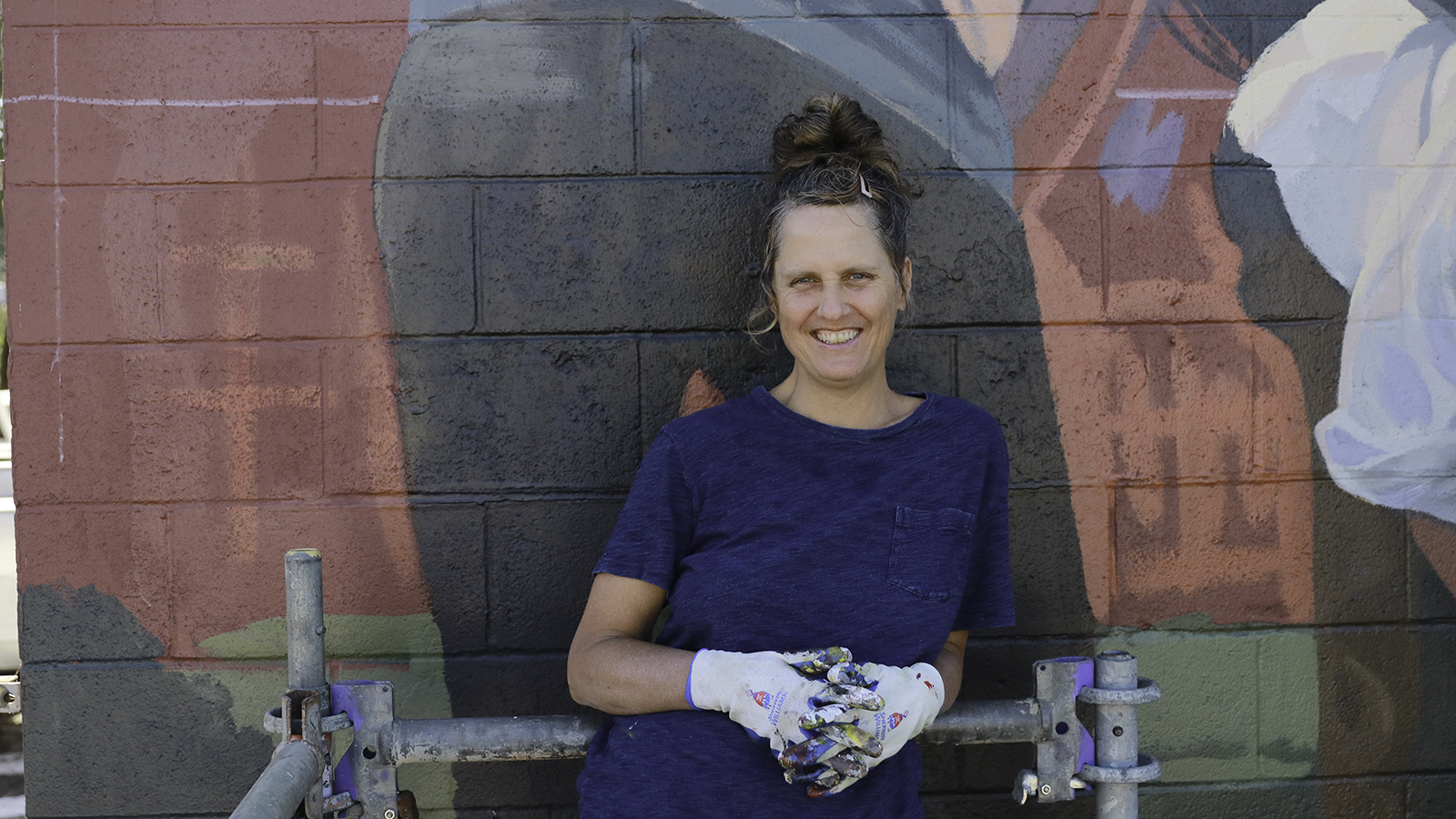 Kari Johnson during Eugene Walls 2019, part of the 20x21 EUG Mural Project.